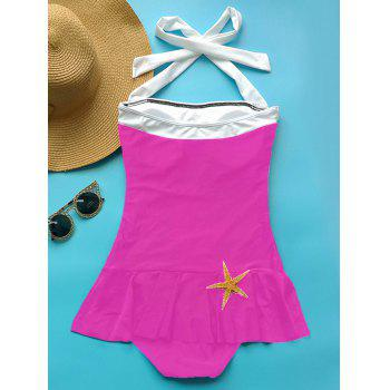 Fashionable Women's Halter Ruffled One-Piece Swimwear - ROSE M