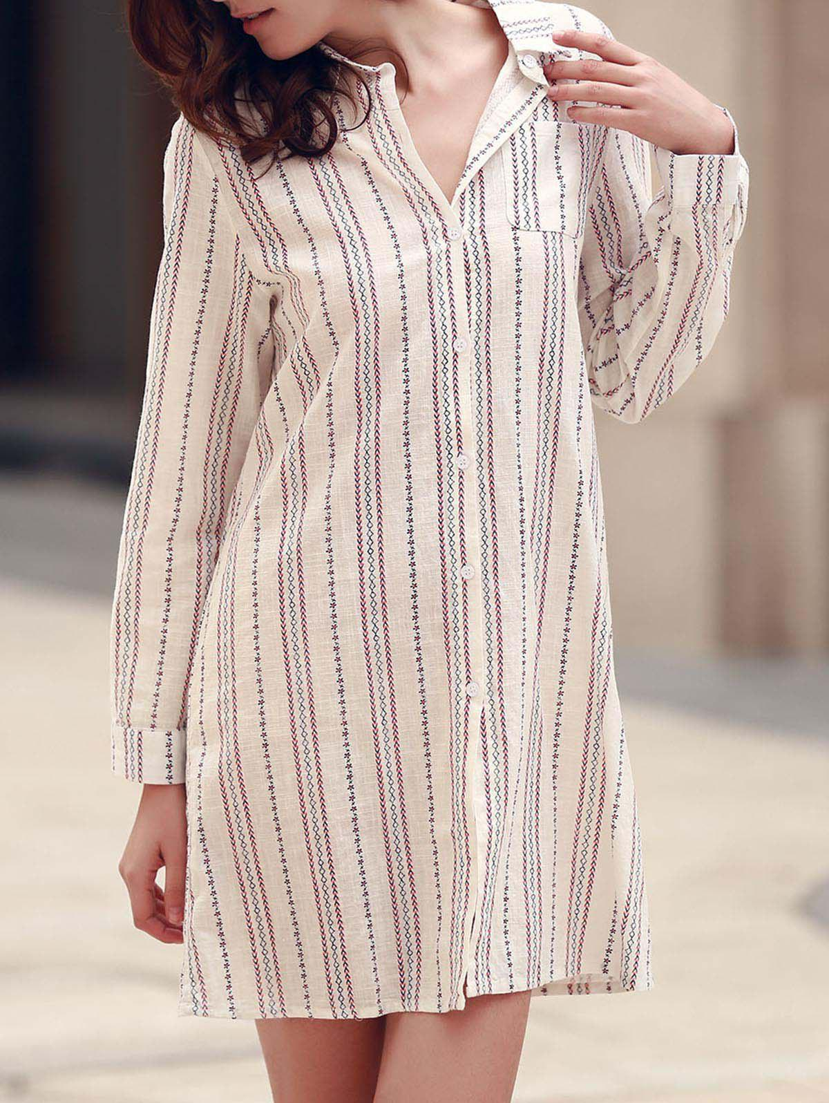 Stylish Vertical Striped Long Sleeve Shirt Dress For Women - CRYSTAL CREAM S