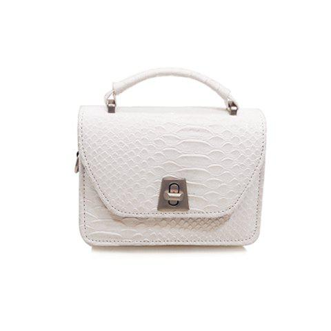 Trendy Solid Colour and Embossing Design Women's Crossbody Bag - WHITE