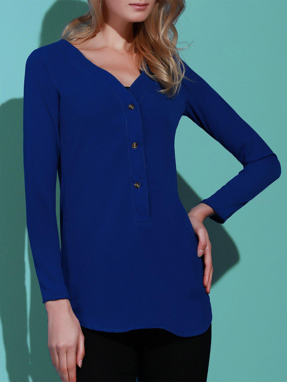Refreshing Solid Color V-Neck Long Sleeve Loose Blouse For Women