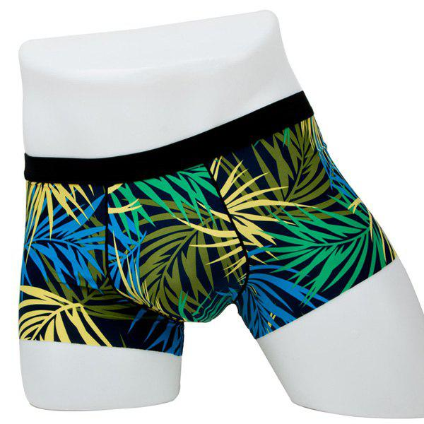 Elastic Waist Leaves Printed Comfortable Boxer Brief For Men