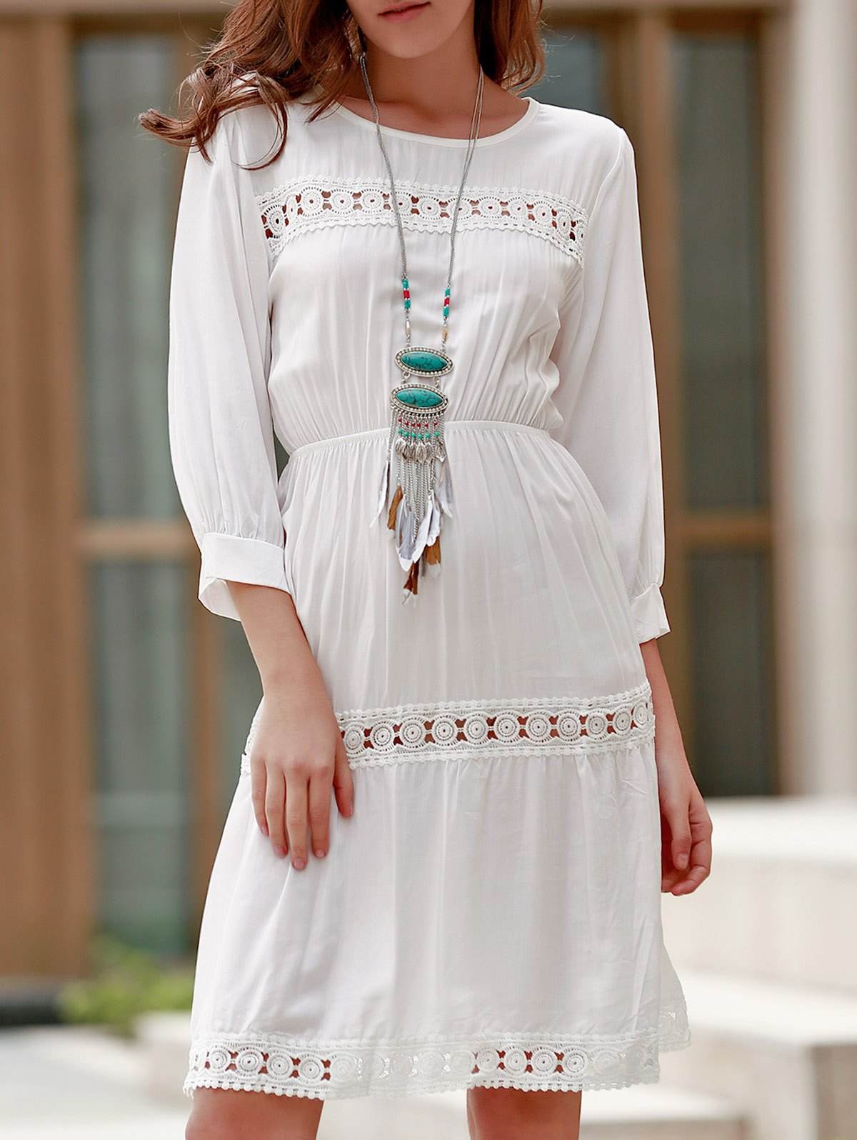 Ladylike Round Collar 3/4 Sleeve White Hollow Out Women's Dress
