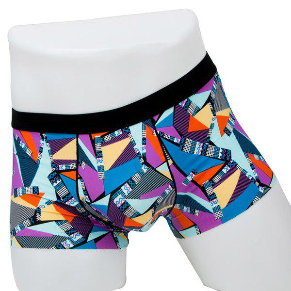 Elastic Waist Geometric Printed Spliced Comfortable Men's Boxer Brief