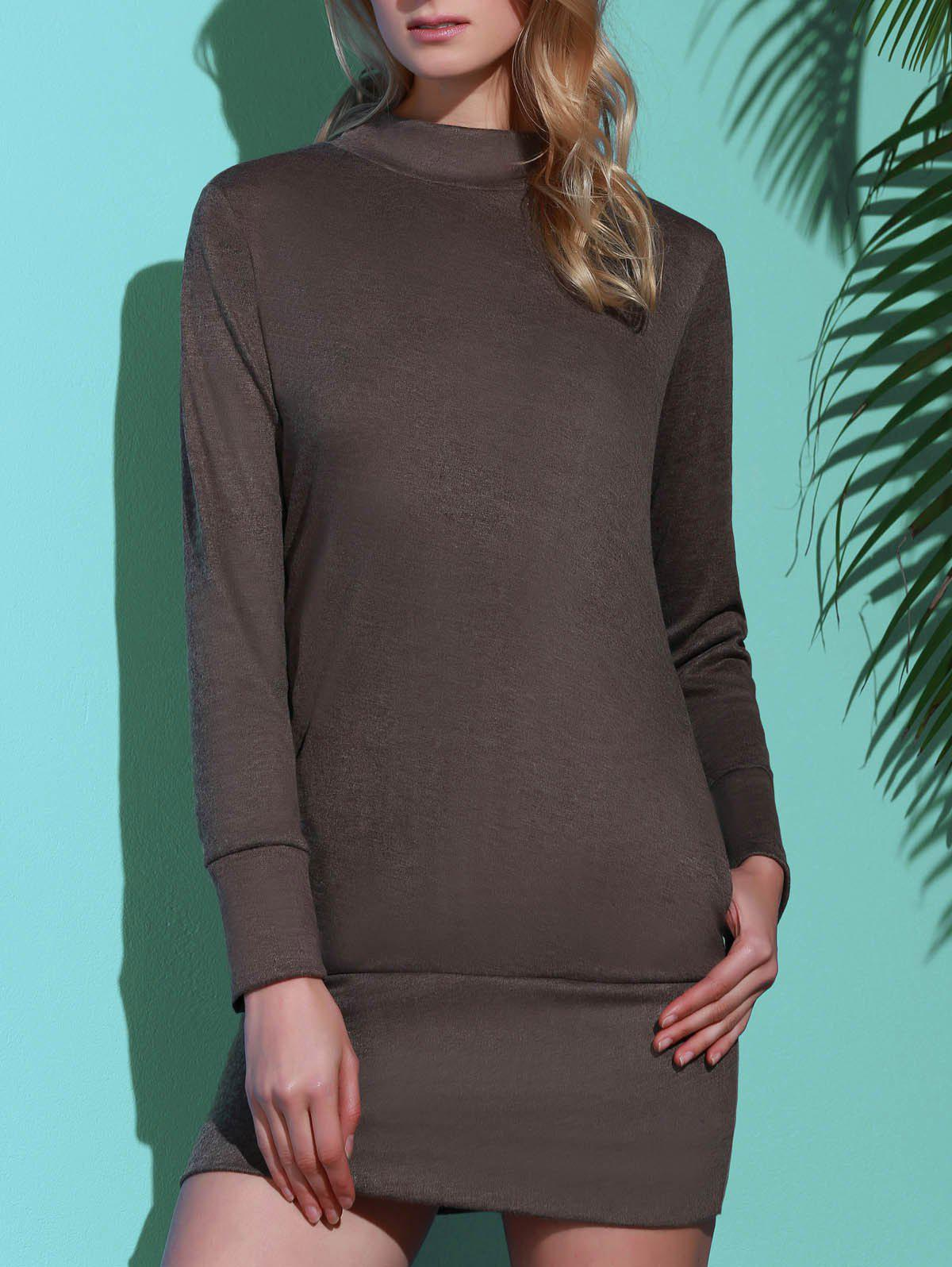 Brief Pure Color Turtleneck Long Sleeve Dress For Women - Gris S