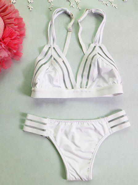 Charming Cut Out Solid Color   Bikini For Women - WHITE S
