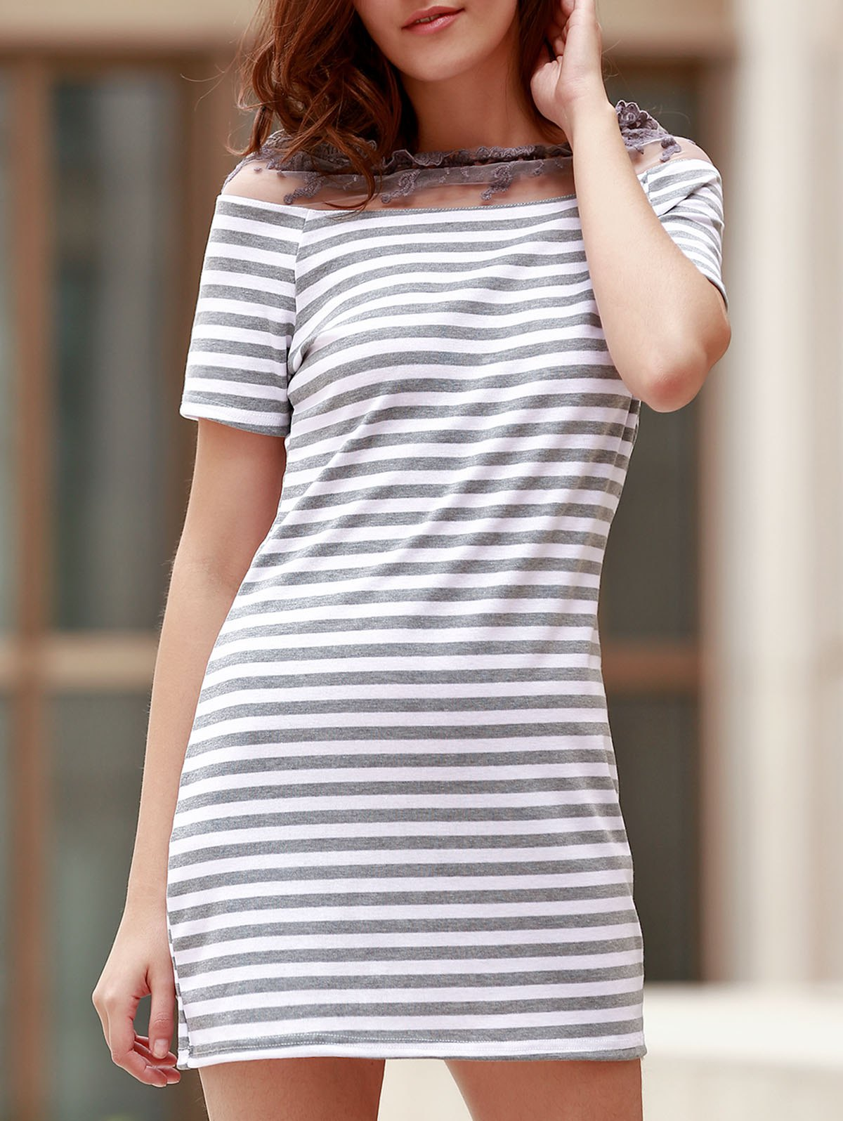 Stylish Short Sleeve Striped Lace Floral Spliced See-Through Women's Dress - GRAY S