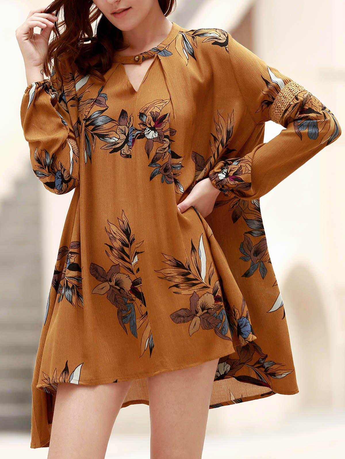 Chic Long Sleeve Round Neck Floral Print Asymmetrical Women's Dress - GINGER M