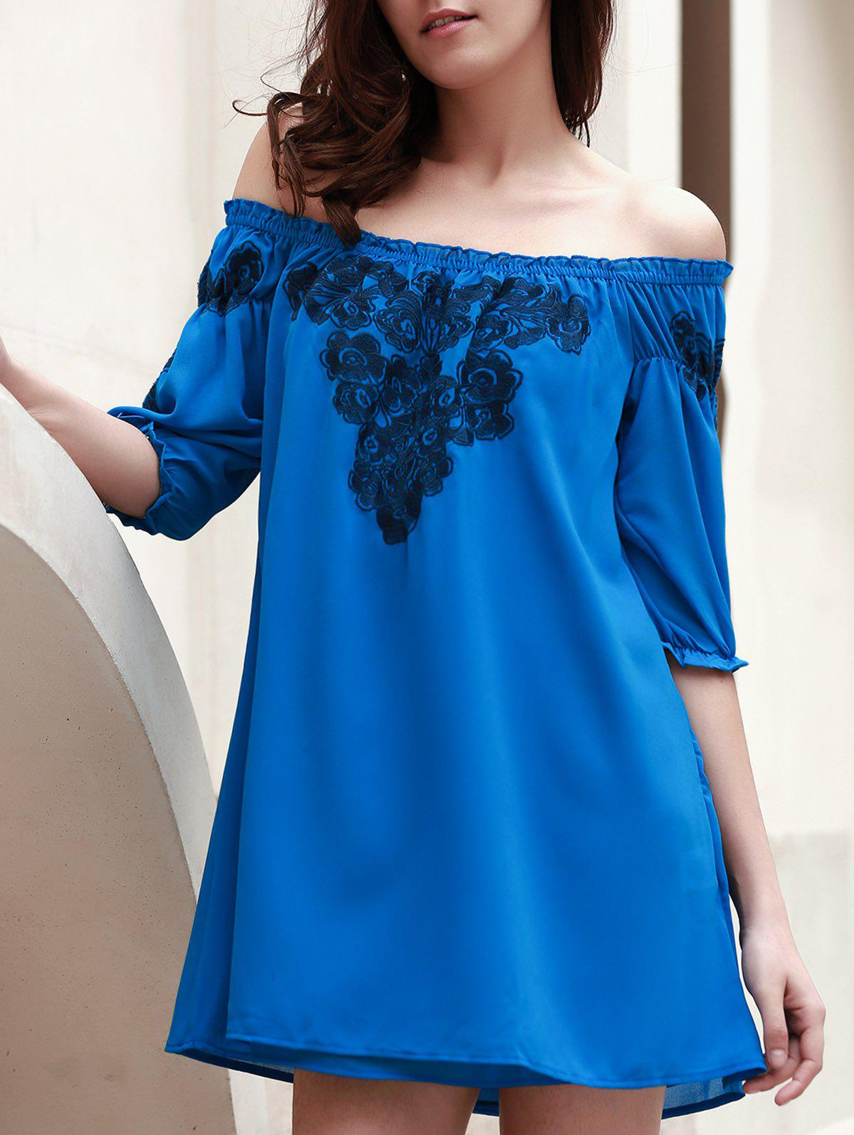 Chic 3/4 Sleeve Off-The-Shoulder Embroidered Women's Dress - BLUE S