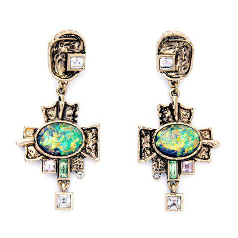 Pair of Charming Faux Crystal Geometric Earrings For Women - GREEN