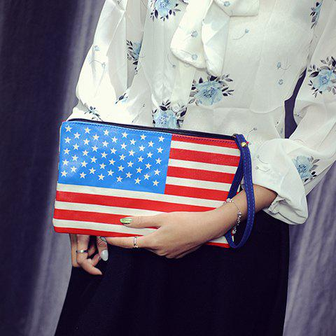 Stylish PU Leather and American Flag Design Womens Clutch BagBags<br><br><br>Color: RED AND WHITE AND BLUE