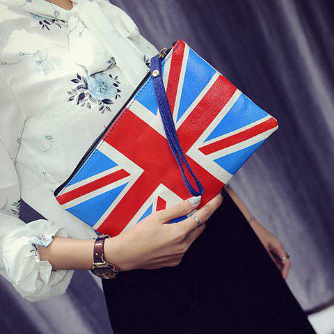 Fashionable Zipper and British Flag Design Women's Clutch Bag - RED/WHITE/BLUE