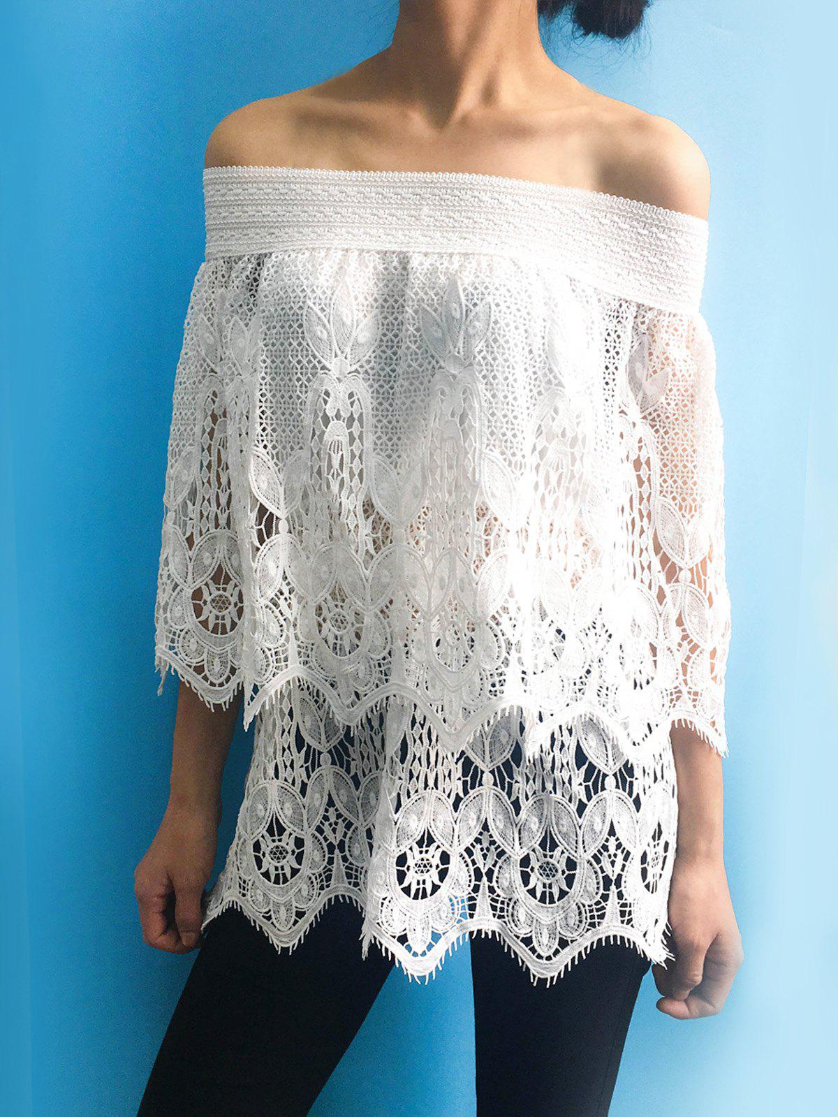 Trendy Off The Shoulder Lace 3/4 Sleeve Cover-Up For Women - WHITE S