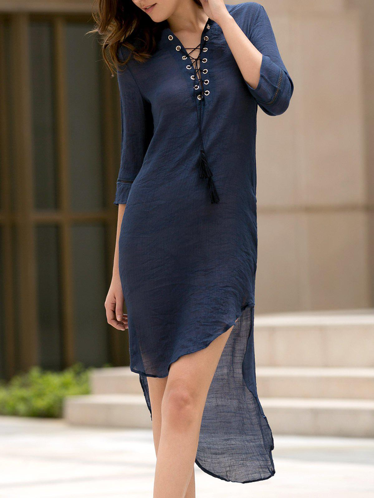 Fashionable Plunging Neck 3/4 Sleeve Lace-Up High-Low Hem Women's Dress plunging neck high low split sleeve blouse