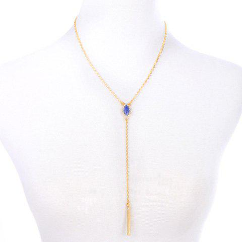 Rhinestone Faux Gem Bar Necklace - GOLDEN