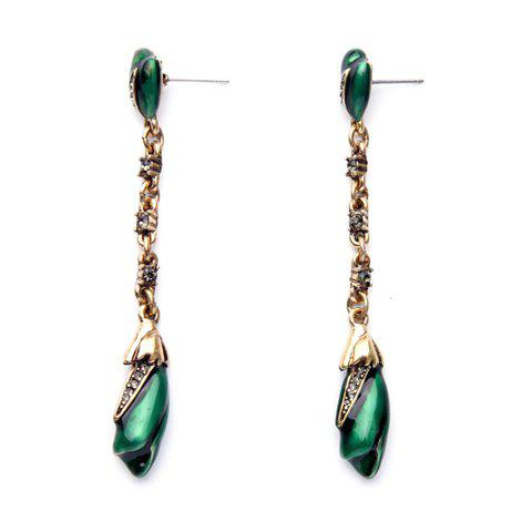 Pair of Graceful Floral Drop Earrings For Women - GREEN