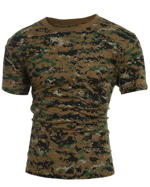 Slimming Round Collar Short Sleeves Camo T-Shirt For Men - CAMOUFLAGE XL