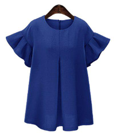 Stylish Flounced Sleeves Round Neck Pure Color Plus Size Dress For Women - BLUE XL