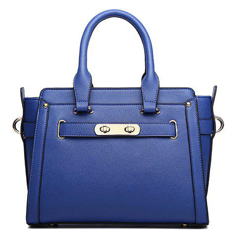 Trendy Lock and Solid Colour Design Tote Bag For Women - BLUE