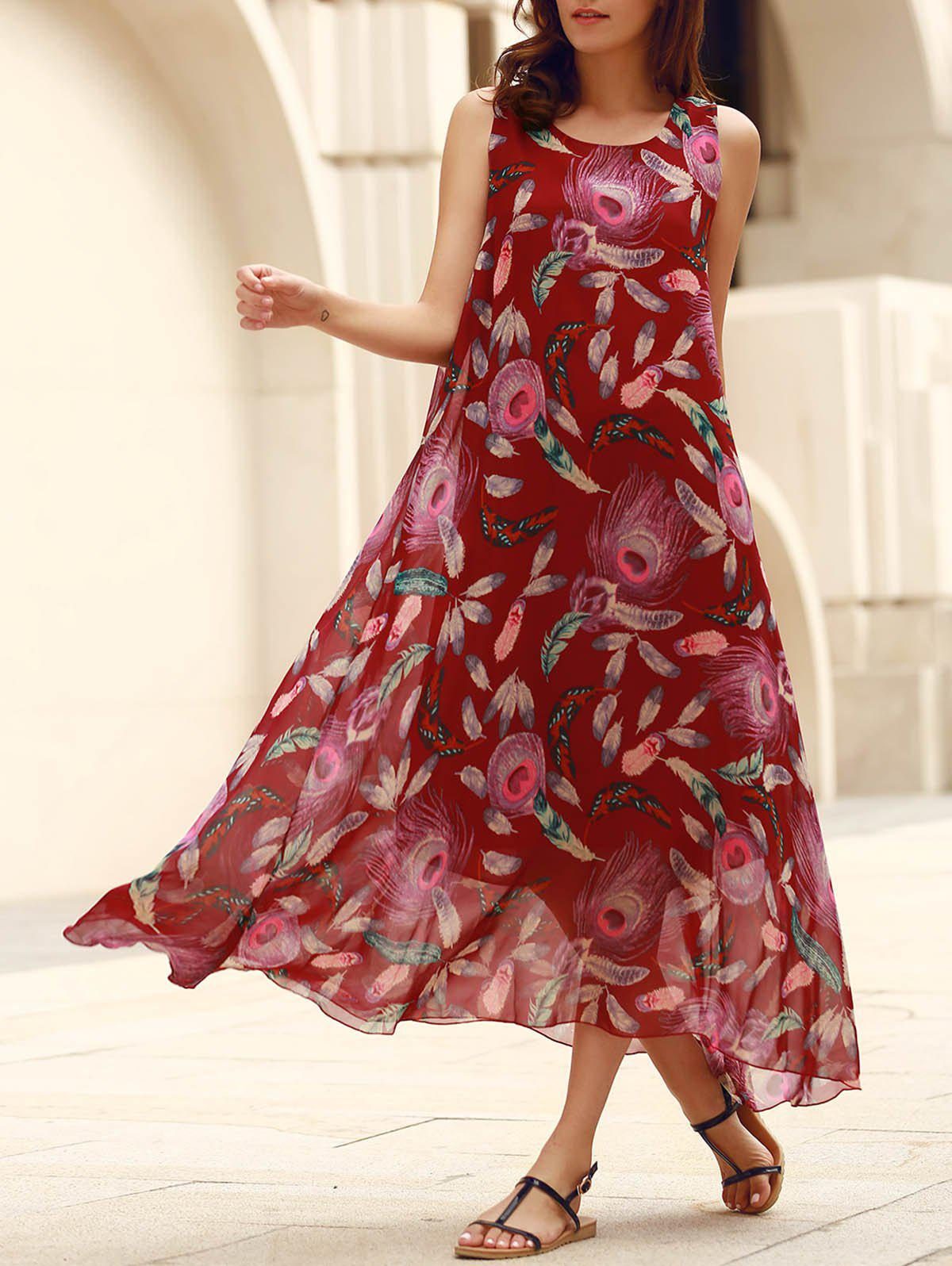 Bohemian Sleeveless Scoop Neck Feather Print Women's Dress - DEEP RED ONE SIZE(FIT SIZE XS TO M)