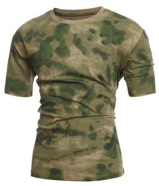 Slimming Short Sleeves Camo Round Collar T-Shirt For Men