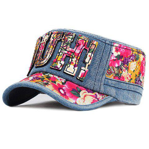 Chic Letters Shape Decorated Ethnic Flower Pattern Jeans Military Hat For Women