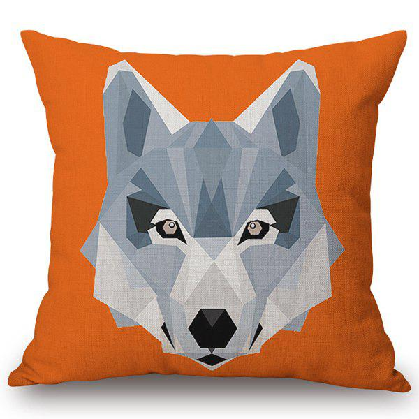High Quality Animal Wolf Pattern Cotton and Linen Pillow Case(Without Pillow Inner) - ORANGE
