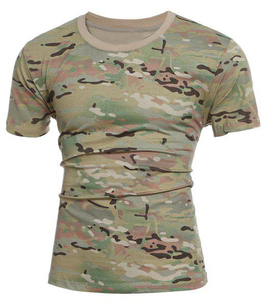 Slimming Camo Short Sleeves Round Collar T-Shirt For Men - CAMOUFLAGE 2XL