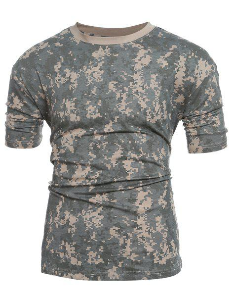 Slim Fit Camo Short Sleeves Round Collar T-Shirt For Men - CAMOUFLAGE M