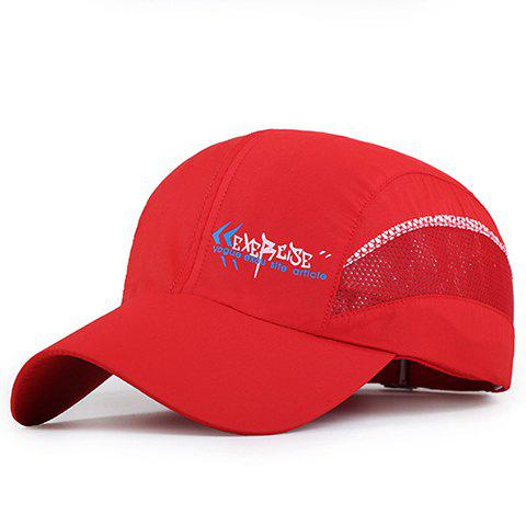 Fashion Mesh Embellished Letter Pattern Waterproof Baseball Cap - RED