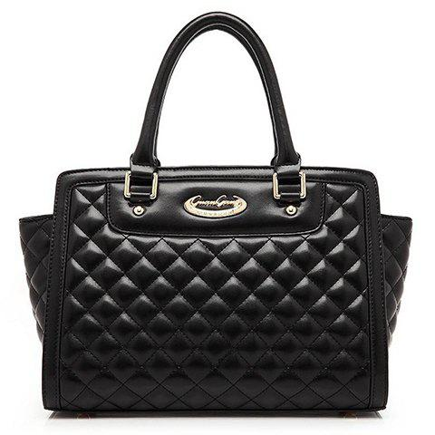 Trendy Argyle Pattern and Metal Design Women's Tote Bag - BLACK