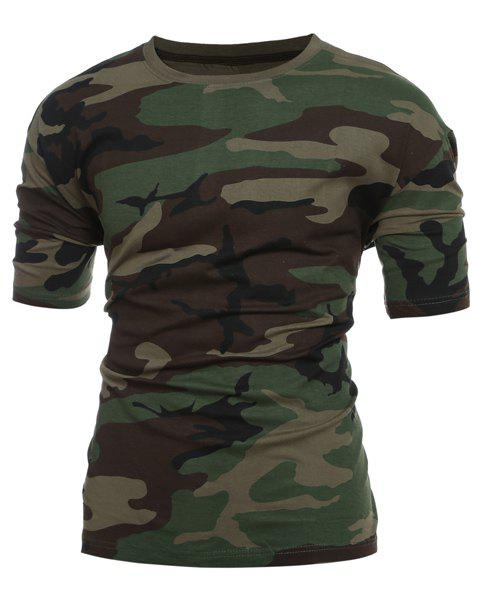 Slim Fit Short Sleeves Camo Round Collar T-Shirt For Men