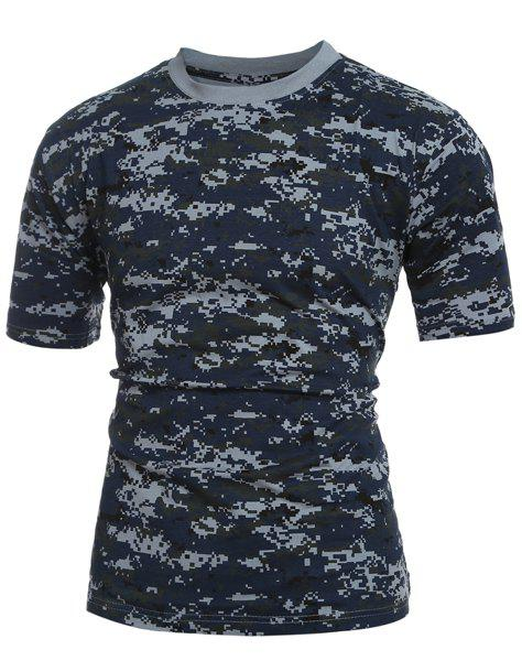 Men's Slim Fit Camo Short Sleeves Round Collar T-Shirt - CAMOUFLAGE M