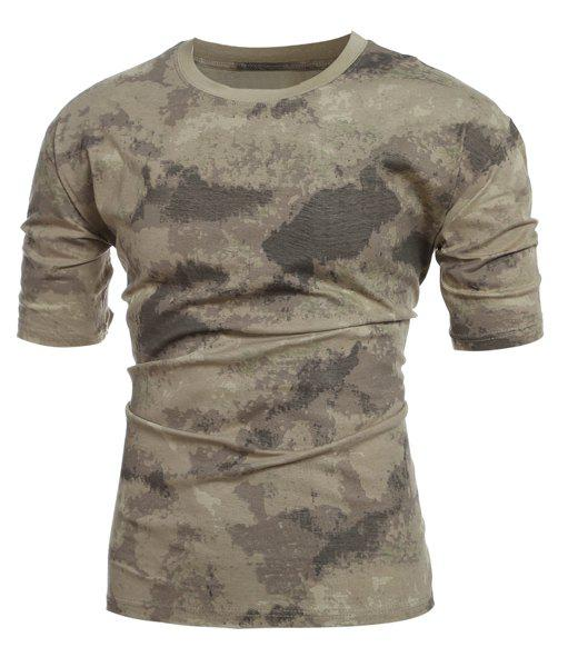 Men's Slimming Camo Short Sleeves Round Collar T-Shirt - CAMOUFLAGE M