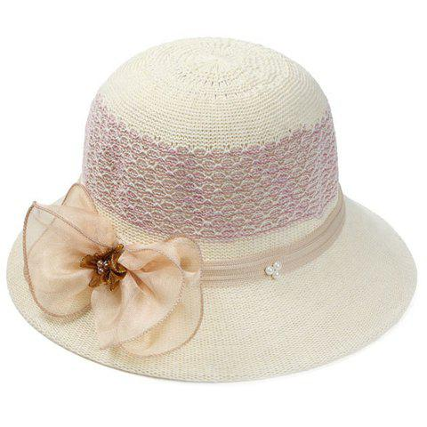 Chic Yarn Bow and Faux Pearl Embellished Women's Crocheting Bucket Hat - BEIGE