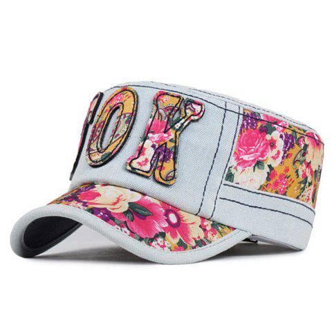 Chic Letter Shape Decorated Ethnic Flower Pattern Jeans Military Hat For Women