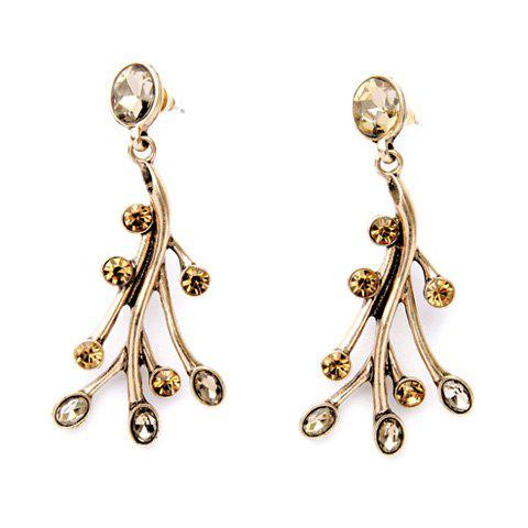 Pair of Faux Crystal Branch Earrings - GOLDEN