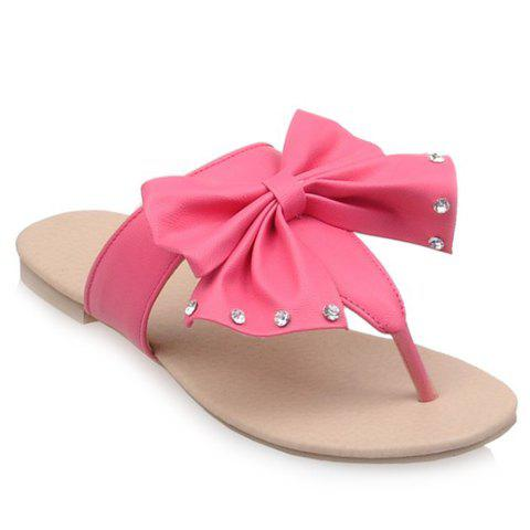 Leisure Bow and Rhinestones Design Women's Slippers - ROSE 36