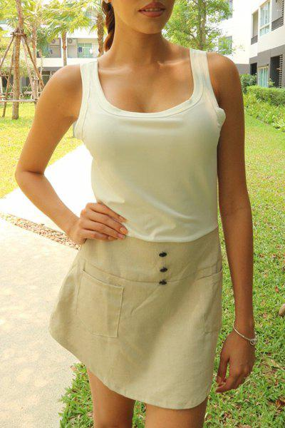 Stylish Scoop Neck Color Block Double-Pocket Skinny Women's Sundress - GREY/WHITE S
