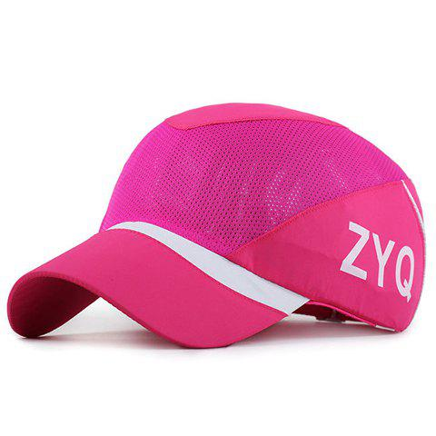 Trendy Capital Letter and Stripe Pattern Breathable Mesh Baseball Cap
