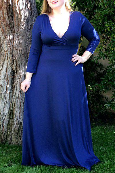 Women's Plunging Neckline 3/4 Sleeve Plus Size Solid Color Dress - BLUE 3XL