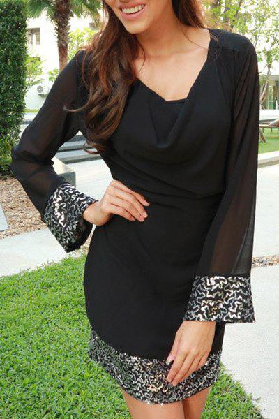 Stylish Long Sleeve Cowl Neck Voile Spliced See-Through Women's Dress