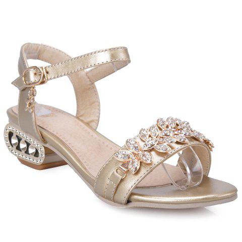 Fashionable Rhinestones and Faux Leather Design Women's Sandals - GOLDEN 38