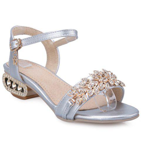 Fashionable Rhinestones and Faux Leather Design Women's Sandals - SILVER 38