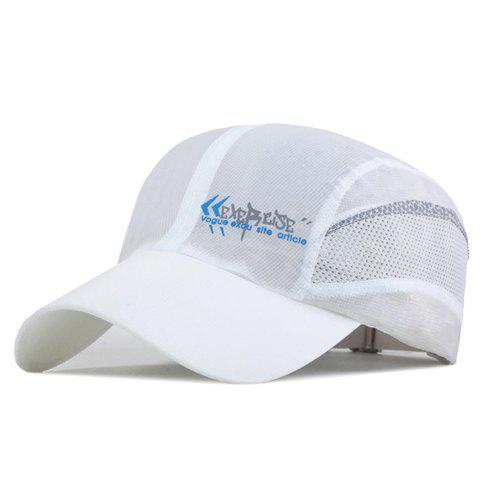 Fashion Letter Pattern Breathable Mesh Sport Baseball Cap - WHITE