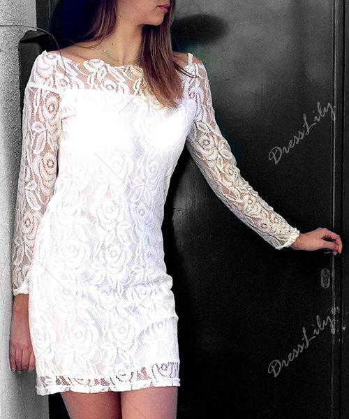 Off-The-Shoulder Long Sleeve Crochet Lace Dress - WHITE M