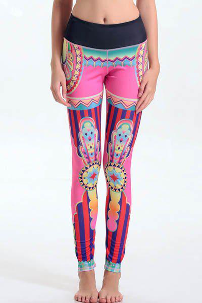 Trendy Elastic Waist Colorful Print Leggings For Women