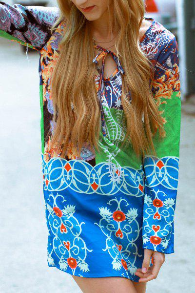 Chic Colorful Printed Plunging Neck Long Sleeve Chiffon Dress For Women - COLORMIX M