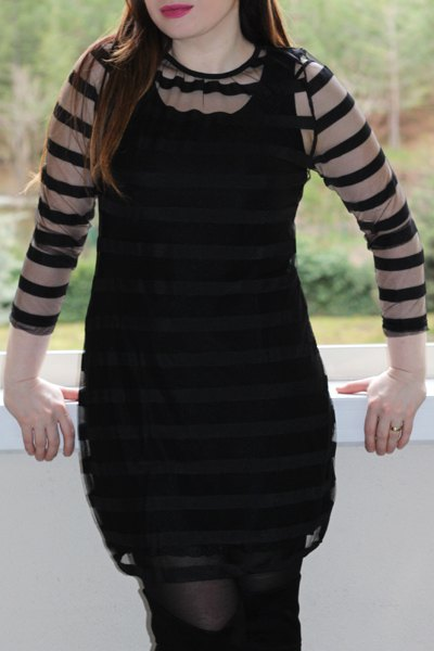 Casual 3/4 Sleeve Round Collar See-Through Women's Club Dress - BLACK XL