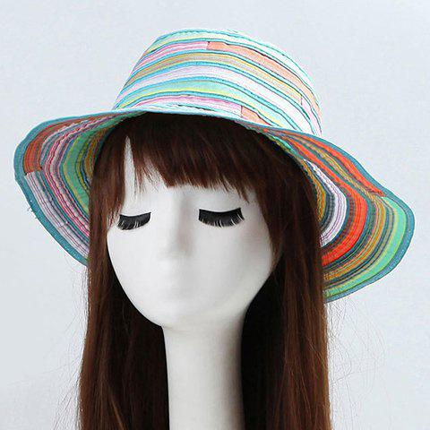 Chic Multicolor Stripe Pattern Women's Bucket Hat - MINT GREEN
