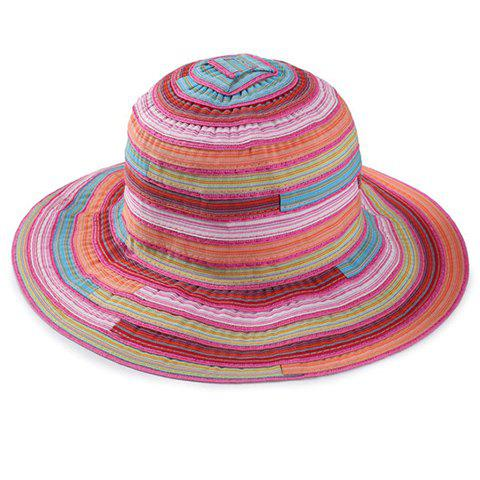 Chic Multicolor Stripe Pattern Women's Bucket Hat - ROSE